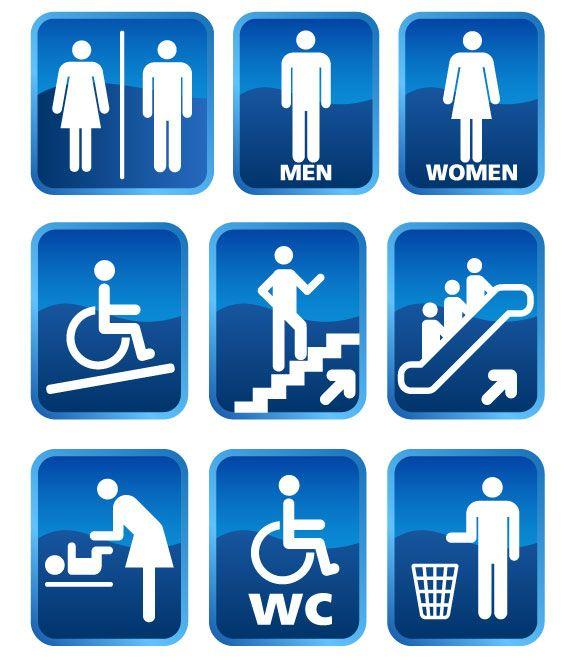 Vectores para Señaletica, baños, escaleras y más.