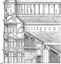 The Colosseum, quarter section cut out. The Colosseum, or Flavian.