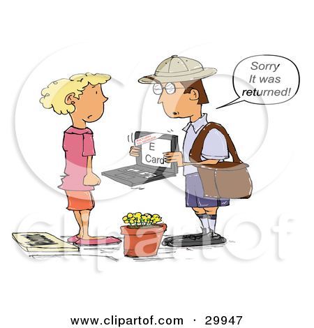 Clipart Illustration of a Mailman Holding A Laptop With An E.