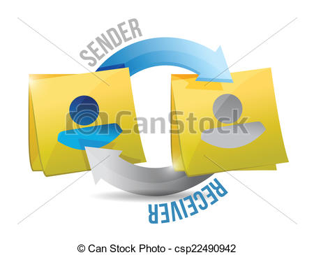 EPS Vector of sender and receiver cycle illustration design over a.