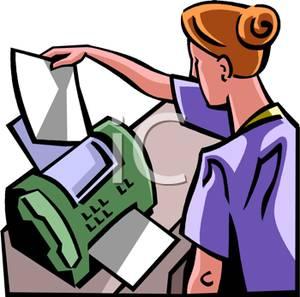 Woman Sending a Fax Clipart Image.