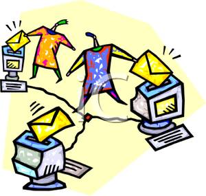 Cartoon of People Sending and Receiving Email.