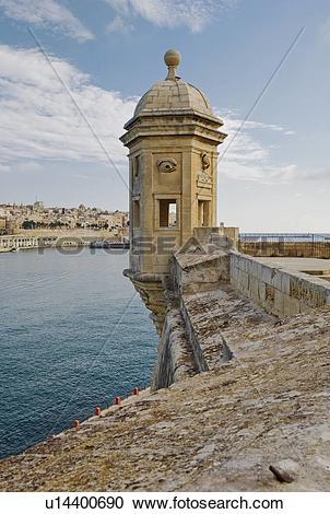 Stock Photography of Senglea Point parapet, Valleta, Malta.