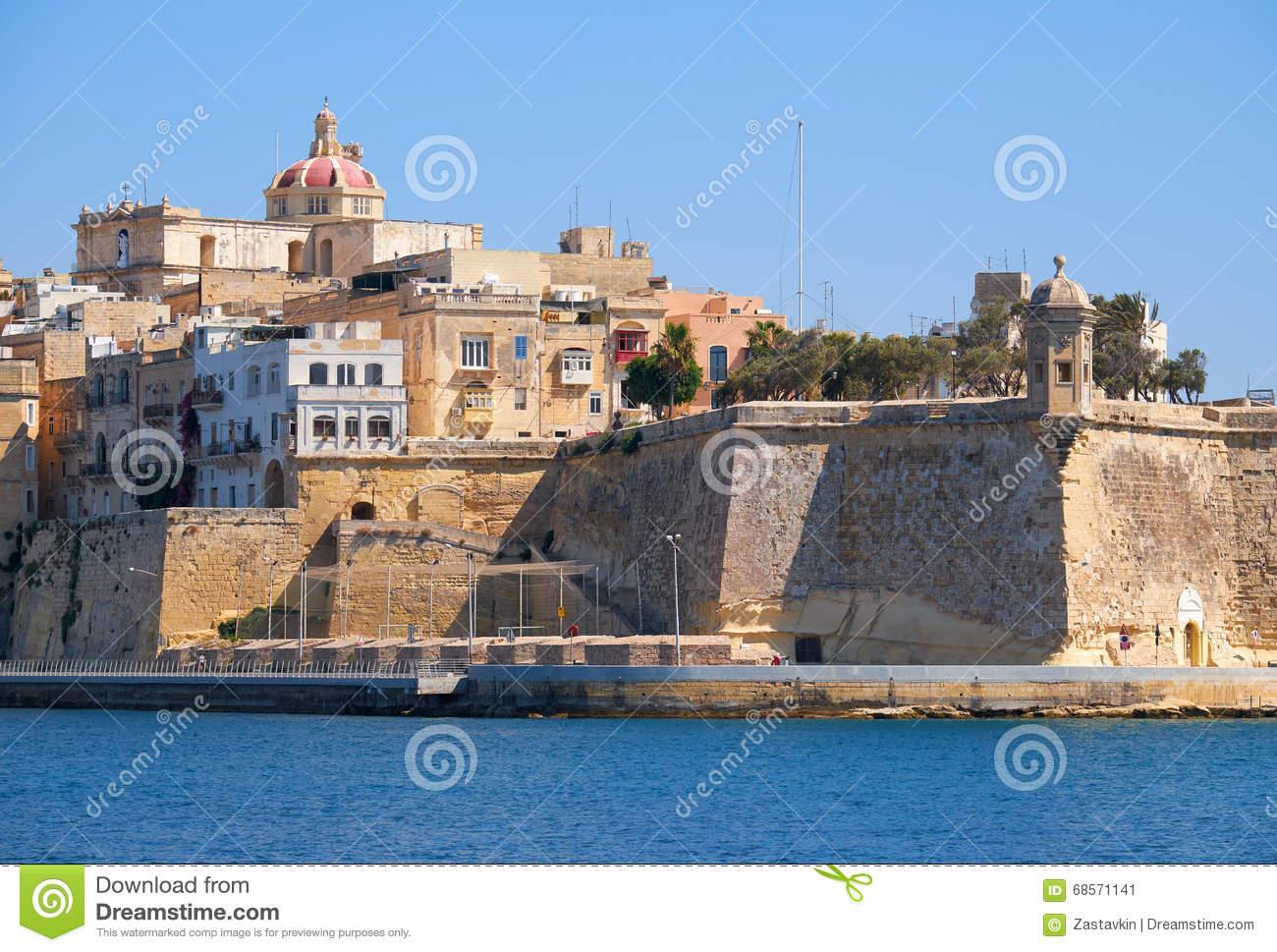 The View Of Senglea Peninsula, Malta. Stock Photo.