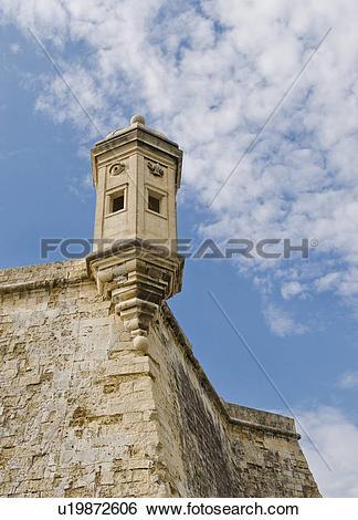 Stock Images of Senglea Point parapet, Valleta, Malta u19872606.