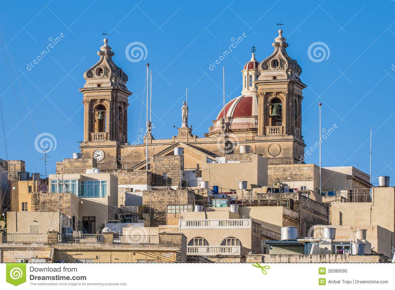 Basilica Of Senglea In Malta. Stock Photo.
