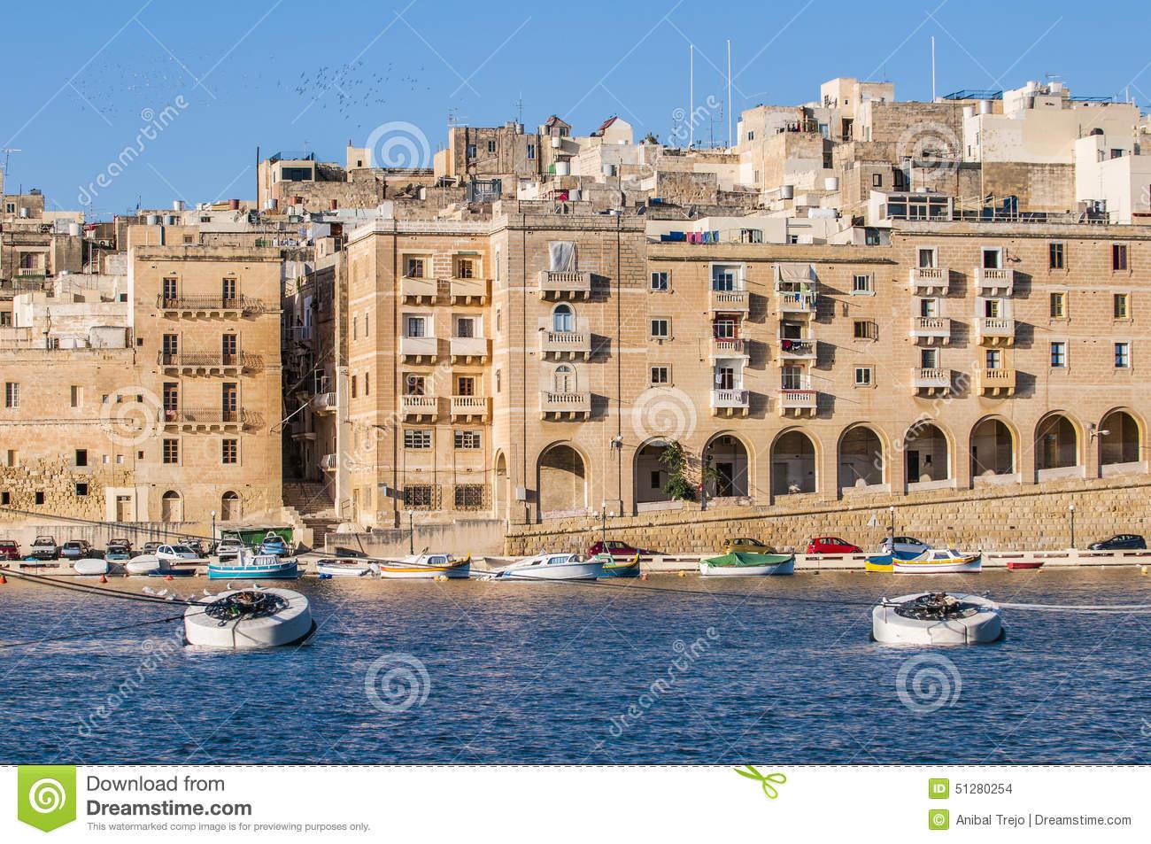 Senglea As Seen From Birgu, Malta Stock Photo.
