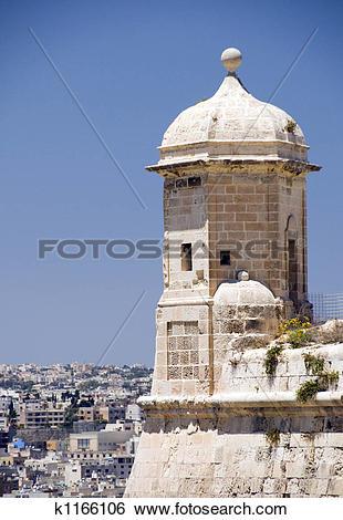Stock Images of sentry post lookout senglea malta valletta.