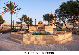 Stock Photography of Gardjola Gardens in the early morning.
