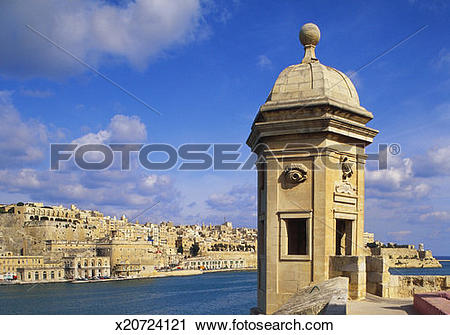 Stock Photography of Watchtower, La Gardiola, Senglea, Malta.