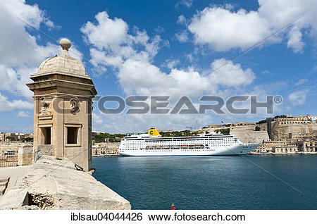 Stock Images of Lookout point, watch tower in Senglea, with a.