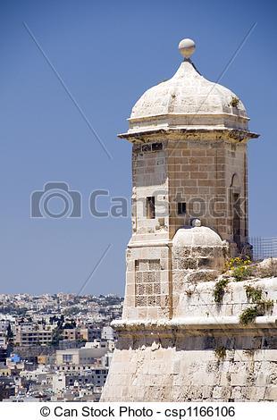 Stock Image of sentry post lookout senglea malta valletta.