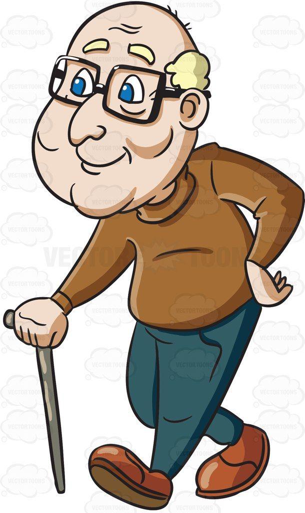 A male senior citizen enjoying a stroll #cartoon #clipart.