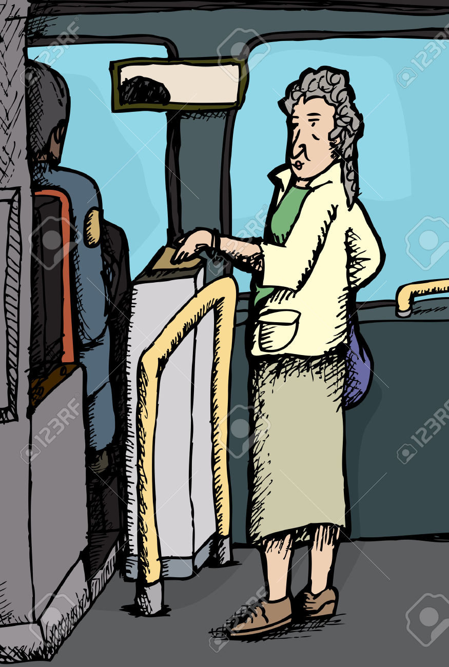 Senior Citizen Woman Paying For Ride On Bus Royalty Free Cliparts.