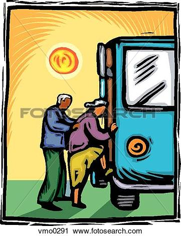 Clipart of seniors taking the bus vmo0291.