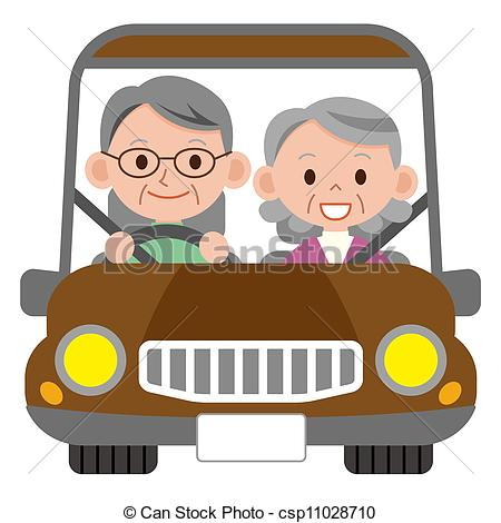 Clipart of Happy smiling senior married couple in a car.