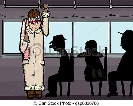 Clip Art Vector of Woman on Bus.