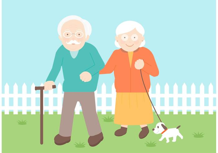 Senior Couple Vector Illustration.