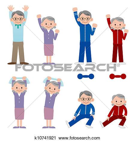 Clip Art of Exercising senior k10741932.
