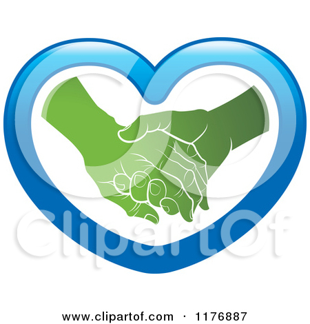 Clipart of a Green Young Hand Holding a Senior Hand in a Blue.