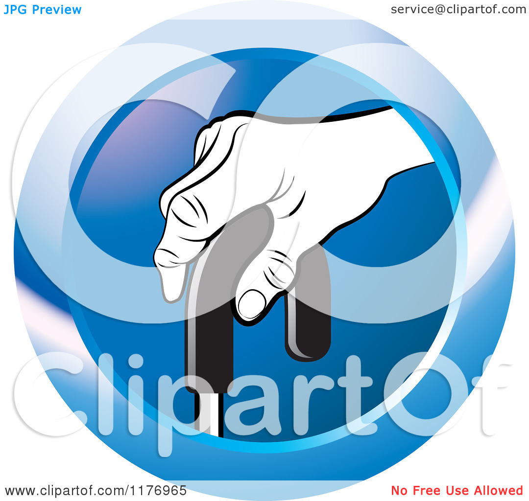 Clipart of a Black and White Senior Hand on a Cane on a Blue Icon.
