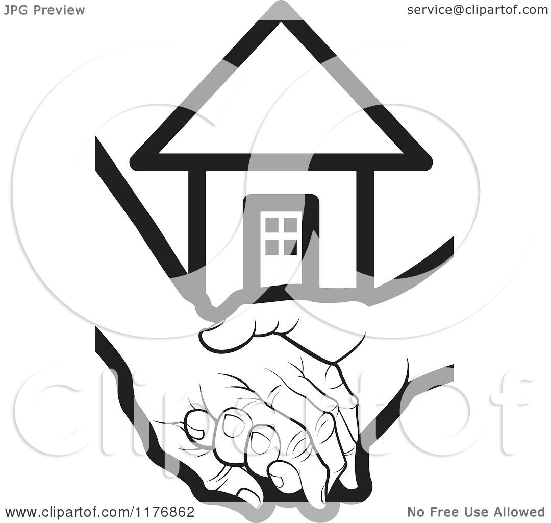 Clipart of a Black and White Young Hand Holding a Senior Hand with.