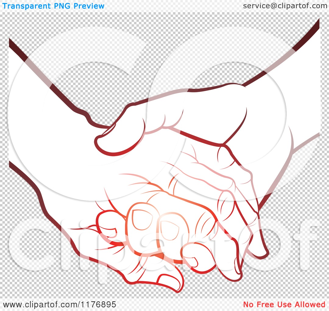 Clipart of a Gradient Red Young Hand Holding a Senior Hand.
