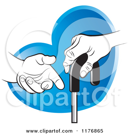 Clipart of a Helping Hand Offering Assistance to a Senior Hand on.
