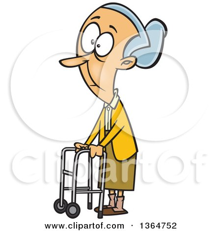Cartoon Clipart of a Caucasian Senior Woman Using a Walker to Get.