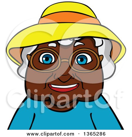 Clipart of a Cartoon Black Senior Woman.