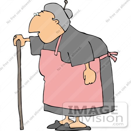 Senior Caucasian Woman Using a Cane Clipart.