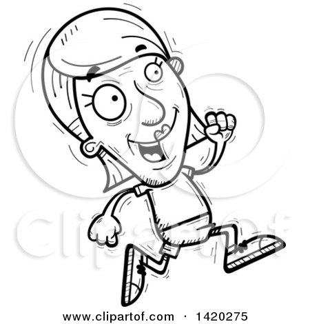 Clipart of a Cartoon Black and White Lineart Doodled Senior Woman.