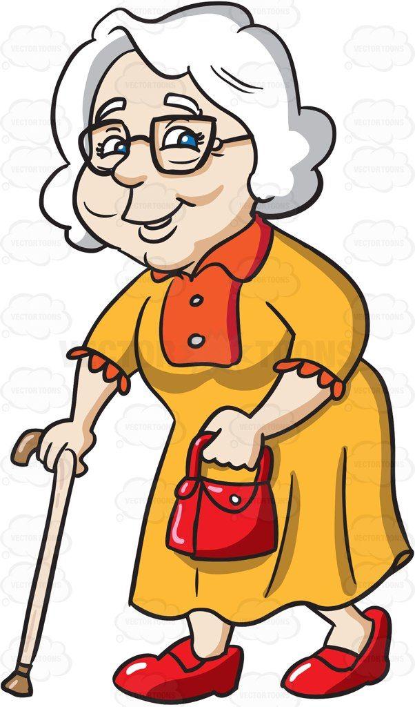 A chic female senior citizen with a walking stick #cartoon.