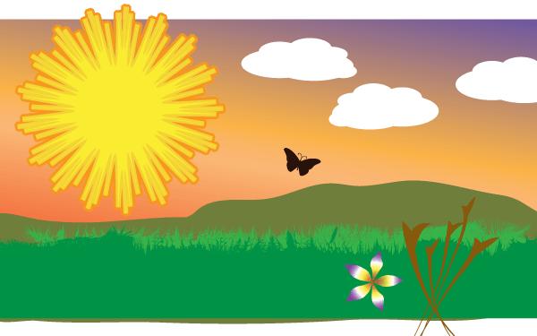 Vector Sunny Field Clip Art.