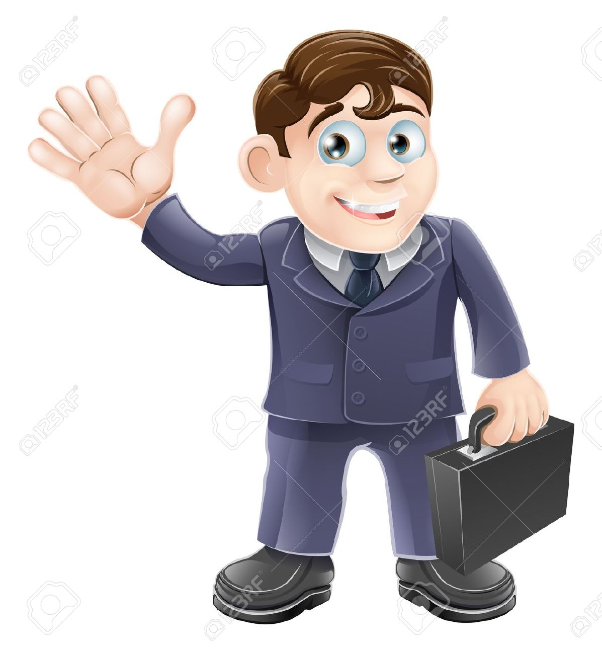 Illustration Of A Happy Smiling Cartoon Business Man Waving And.