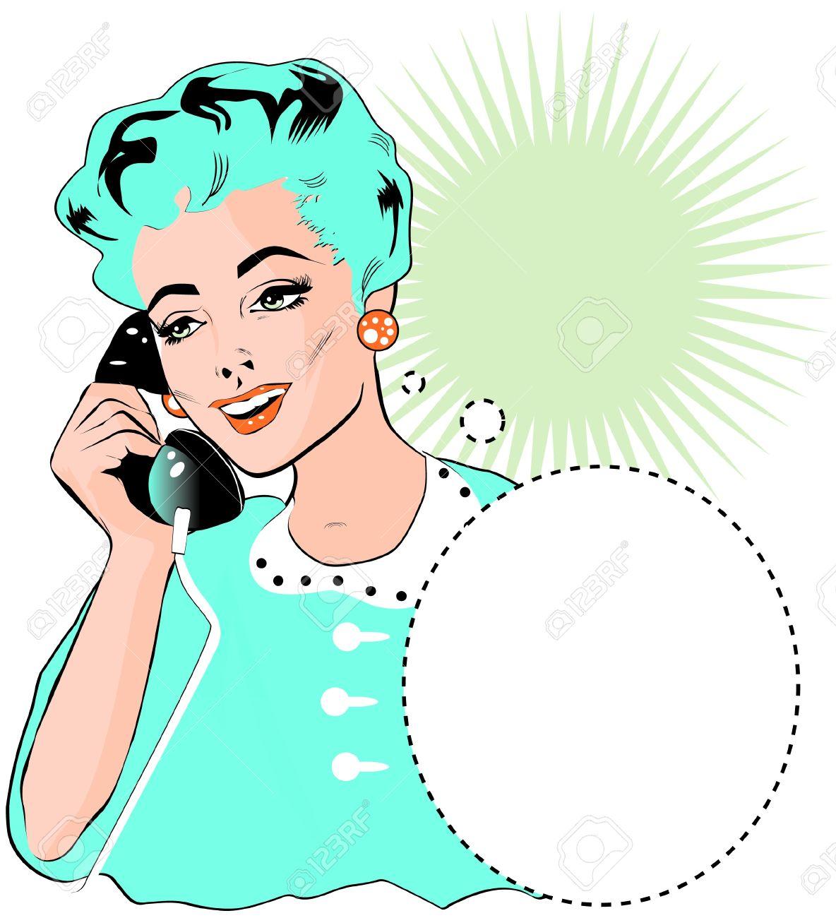Señora Hablar Por Teléfono.