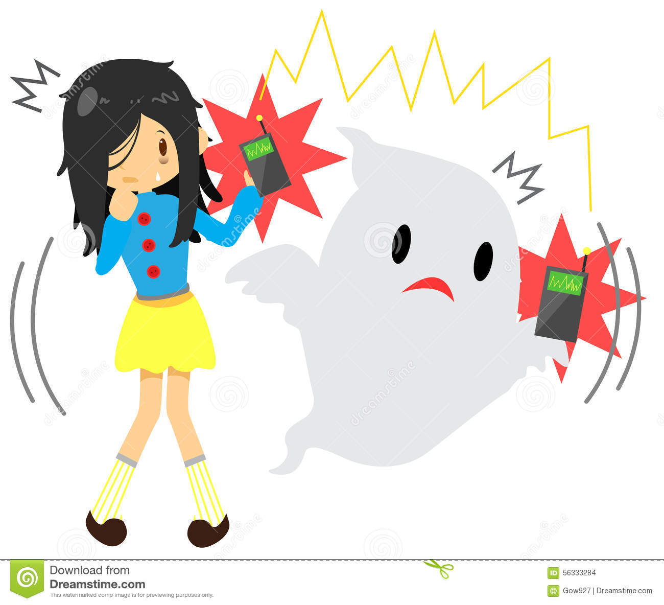 Cute Cartoon Long Hair Girl Is Seeing Or Sensing A Supernatural.