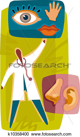 Stock Illustrations of A doctor caring for the five senses.