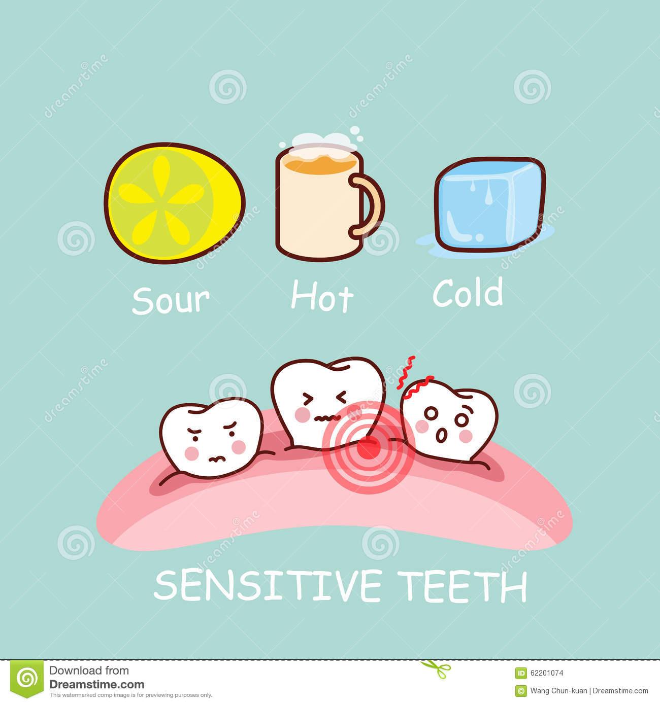 Cartoon Sensitive Tooth Stock Illustrations.