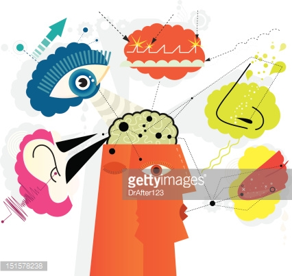 Sensory Perception Icon Set Vector Art.