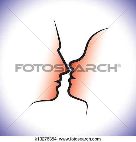 Clipart of Man & woman couple, kissing each other with intimacy.