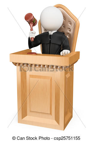 Stock Illustrations of 3D white people. Judge sentencing in court.
