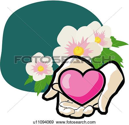 Clip Art of patriotic sentiment, althea, national flower, plant.