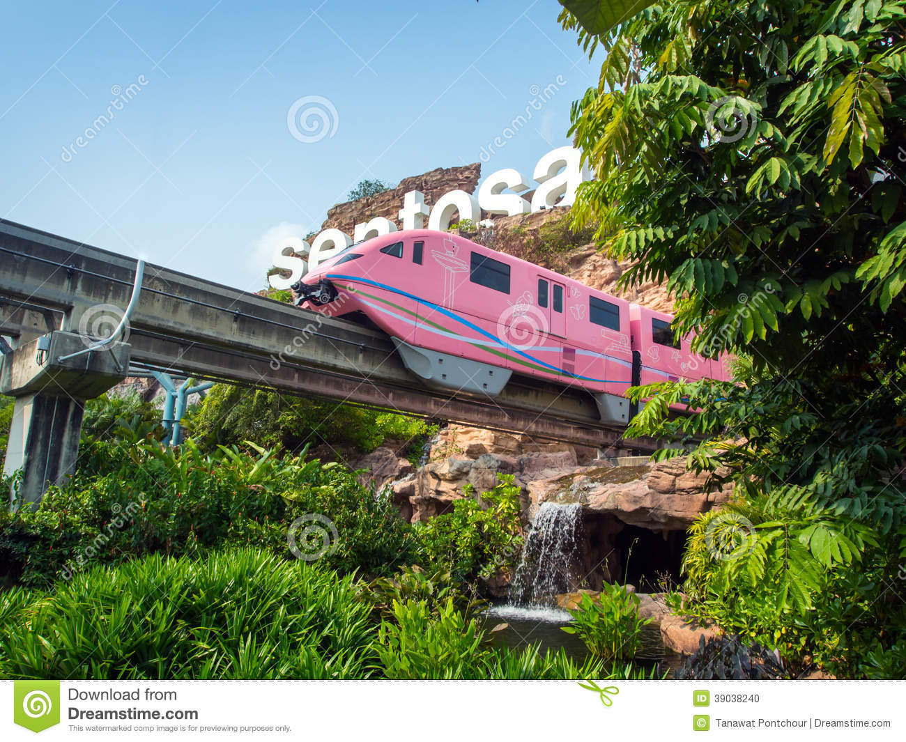 Train Arriving Sentosa Editorial Image.