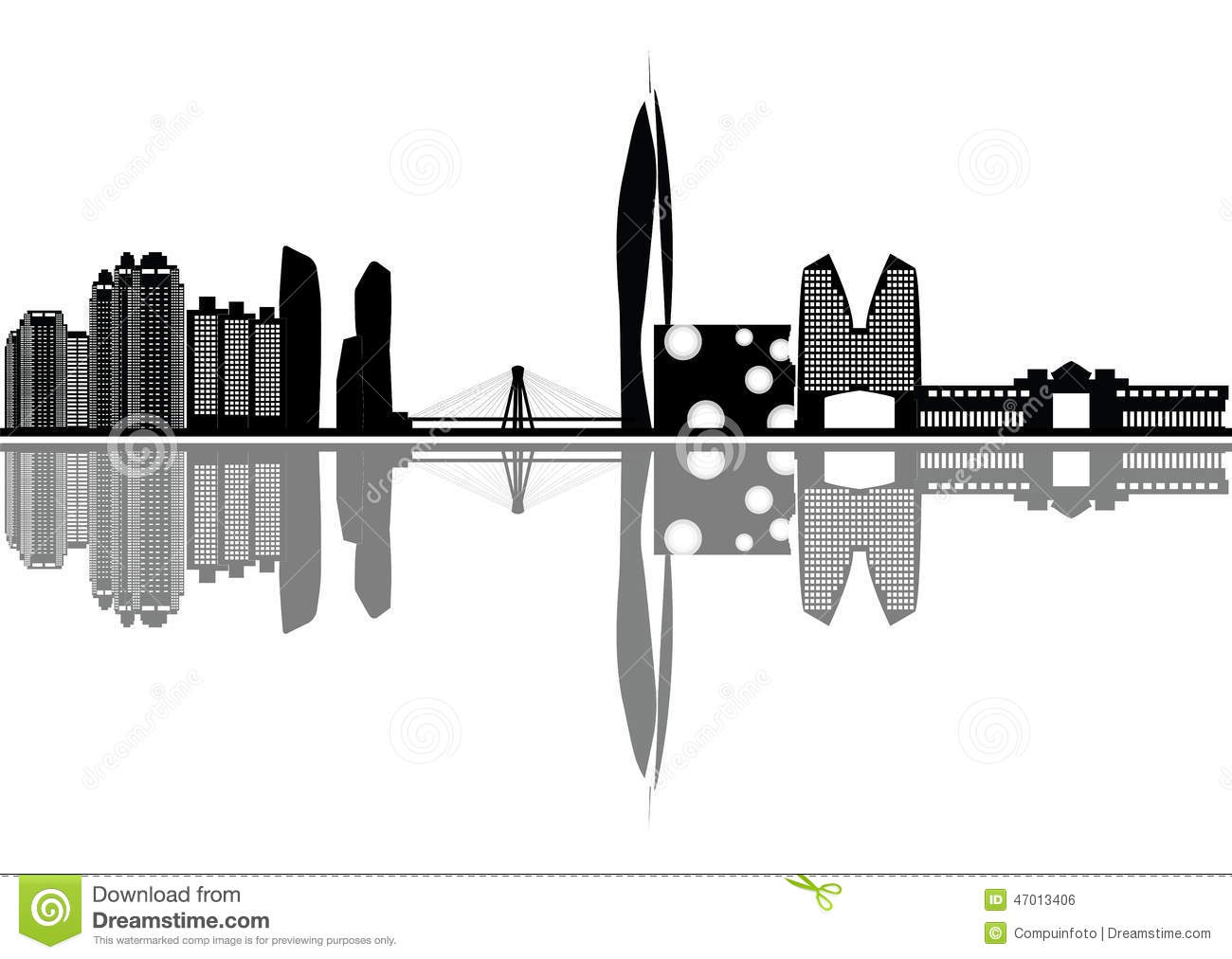 Seoul Skyline Stock Vector.