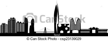 Vector Illustration of seoul korea city skyline.