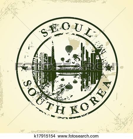 Clipart of stamp with Seoul, South Korea k17915154.