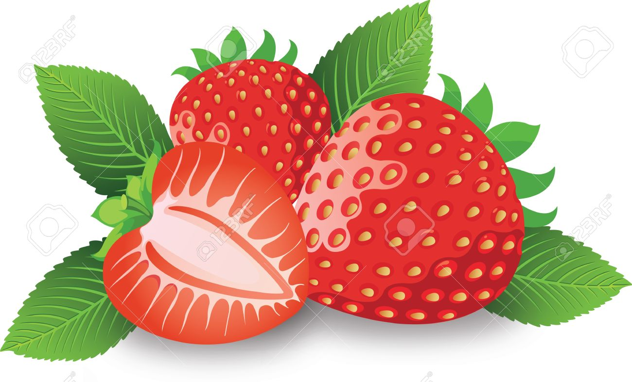Strawberry, Fruit, Whole And Halved, With Sepals, Leaves And.