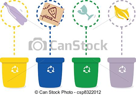 Vector of Separate Garbage collection isolated on white.