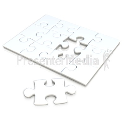 White Square Puzzle Separate Piece.
